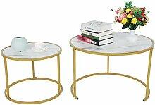 Zerone Table Basse Gigogne Nordique, 2Pcs Table