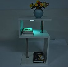 Zerone Table d'appoint à LED blanche