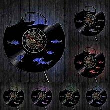 ZFANGY Allez pêche Disque Vinyle Horloge Murale