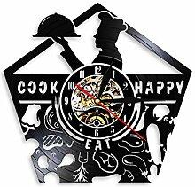 ZFANGY Art Mural Chef Horloge Murale Cuisine