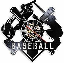 ZFANGY Baseball Art Disque Vinyle Horloge Murale
