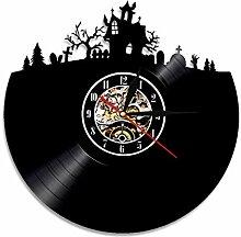 ZFANGY Halloween Maison Hantée Design Horloge