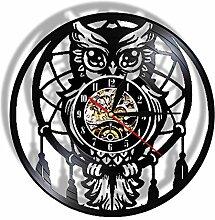 ZFANGY Hibou sculpté Horloge Murale en Vinyle
