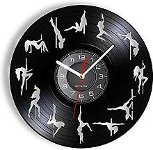 ZFANGY Pole Dance Disque Vinyle Horloge Murale