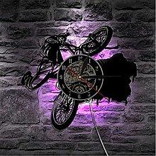 ZFANGY Vinyle LED Éclairage Vélo Horloge Murale