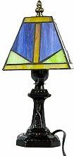 ZH1 Lampe Tiffany, Lampe De Bureau, Rétro Vitrail