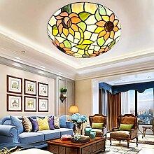 ZHANGDA Tiffany Style Sun Flower Plafonnier LED