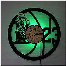 ZhangXF Basketball Disque Vinyle Horloge Murale,