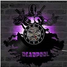 ZhangXF Deadpool Vinyl Record Horloge Murale, LED