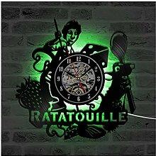 ZhangXF Ratatouille Horloge Murale Disque Vinyle,
