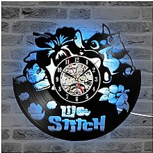 ZhangXF Stitch LED Horloge Murale Disques Vinyle