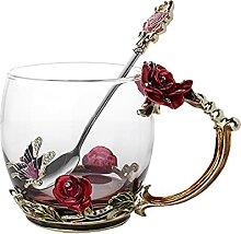 ZHANGZHI Émail Café Thé Tasse Rose papillon