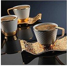 ZHANGZHI Ensemble de tasses à café en or en