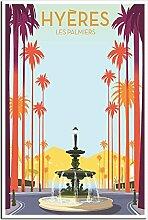 ZHBIN Poster vintage de voyage avec fontaine