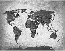 ZHEN WALLPAPER Carte du Monde Noir Blanc