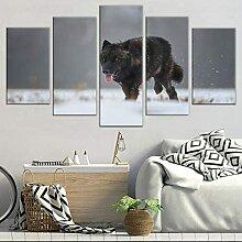 ZHJJD Black Wolf Peinture HD Imprimé 5 PièCe