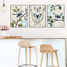 ZHJJD Oiseau Papillon Arbre Affiche Mur Art rétro