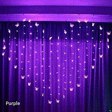 ZHQIC 128 LED 2x1.5m Coeur glaçon Rideau lumière