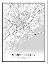 ZhuSen France Noir et Blanc Carte du Monde Affiche