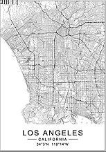 ZhuSen Moderne Los Angeles Ville Carte du Monde