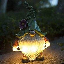 ZJING Lampe Solaire de Statue de Nain de Jardin,