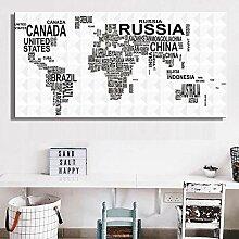 ZLARGEW Carte du Monde des Pays par nom Peinture