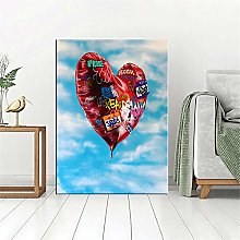 ZLARGEW Rouge Amour Ballon Graffiti Photo Toile