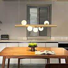 ZMH LED lampe suspension en bois rustique table à