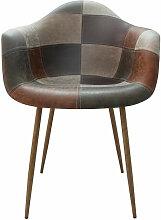 Zons - Fauteuil Oraz patchwork brun - Marron