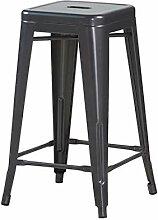 ZONS Gris Tabouret Retro Industriel en Metal Mat,
