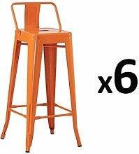 Zons Lot DE 6 Tabouret Bar Design Industriel Orange