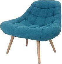 Zons MINAY Fauteuil 1 Place en Suédine Bleu Style