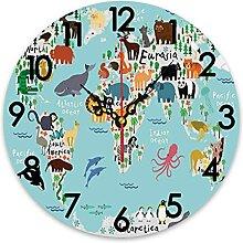 ZORMIEY Horloge Murale Ronde à Piles, Carte du