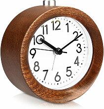 Zqyrlar - Réveil analogique en bois avec snooze -