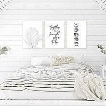 zuomo Affiche de Plume scandinave Noir et Blanc