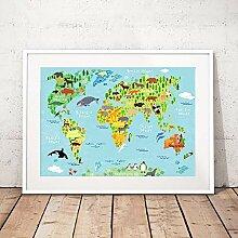 zuomo Carte du Monde des Enfants avec des Animaux