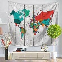 ZWLXY Tapisseries,Carte du Monde Colorée avec des