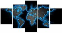 ZXYJJBCL Bleu Brillant Carte du Monde 5 Panneaux