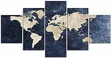 ZXYJJBCL Carte du Monde Abstraite 5 Panneau Art