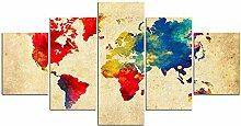 ZXYJJBCL Carte du Monde Colorée sur Papier Kraft