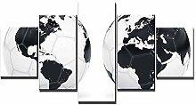 ZXYJJBCL Carte du Monde sur Le Football 5 Panneaux