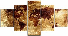 ZXYJJBCL Carte du Monde sur Papier Kraft 5 Panneau