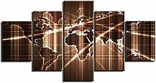 ZXYJJBCL Cool Carte du Monde Graphiques 5 Panneau