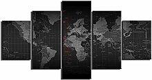 ZXYJJBCL Cool Noir Carte du Monde 5 Panneau Mur