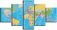 ZXYJJBCL Une Carte du Monde Colorée 5 Panneau Mur