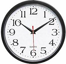 ZYUEER Horloge Murale silencieuse Noir, Plastique