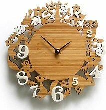 ZYZYY Horloge Murale Jardin Pastoral Bambou forêt
