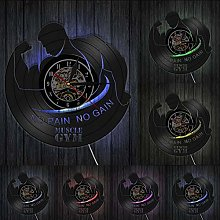 ZZBBQ Musique Gym Disque Vinyle Horloge Murale